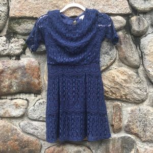 Navy Lace Dress with Mid Sleeves